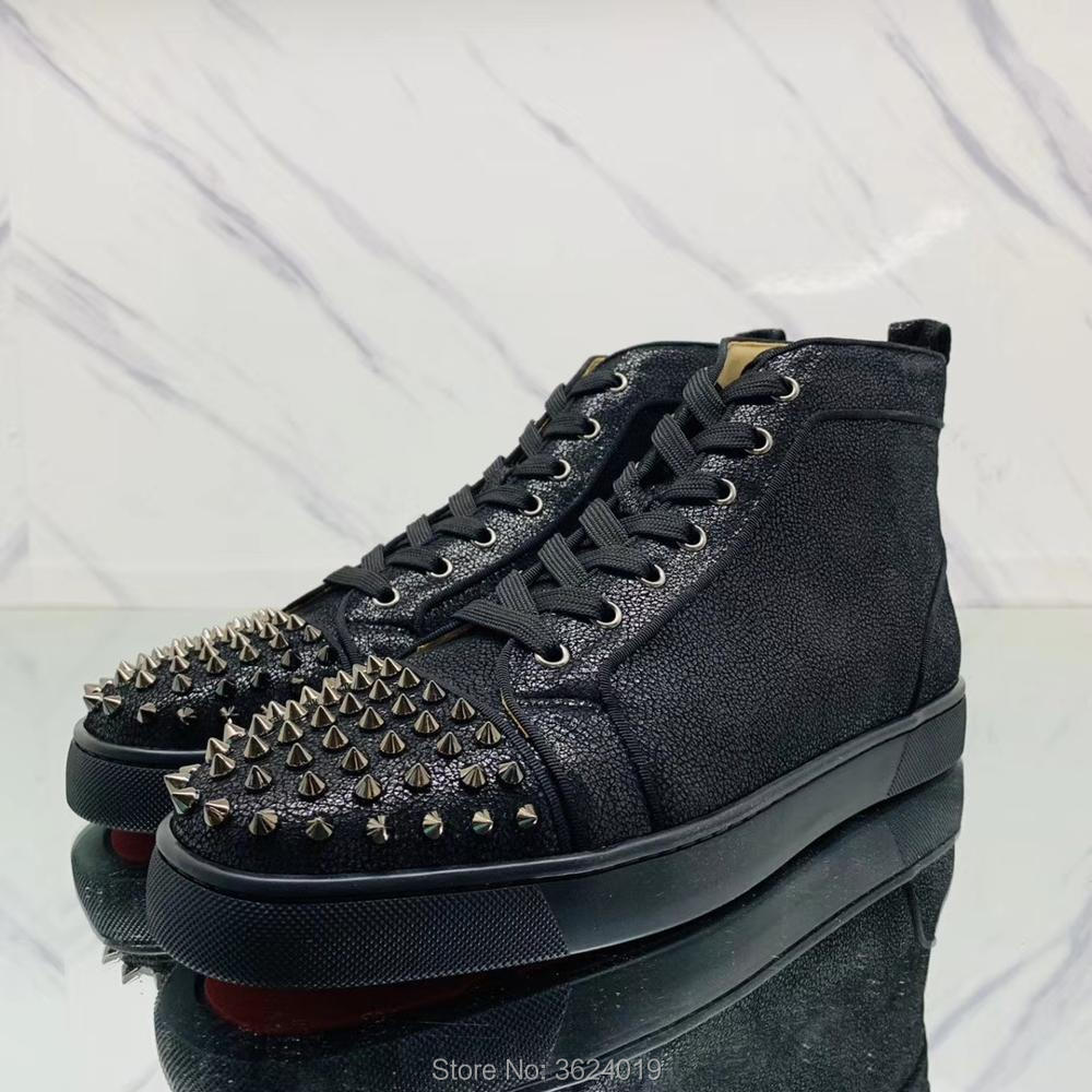5b27db56d9b High Cut shoe cl andgz Black Oil wax Cow leather Rivet Round Toe Lace Up Red