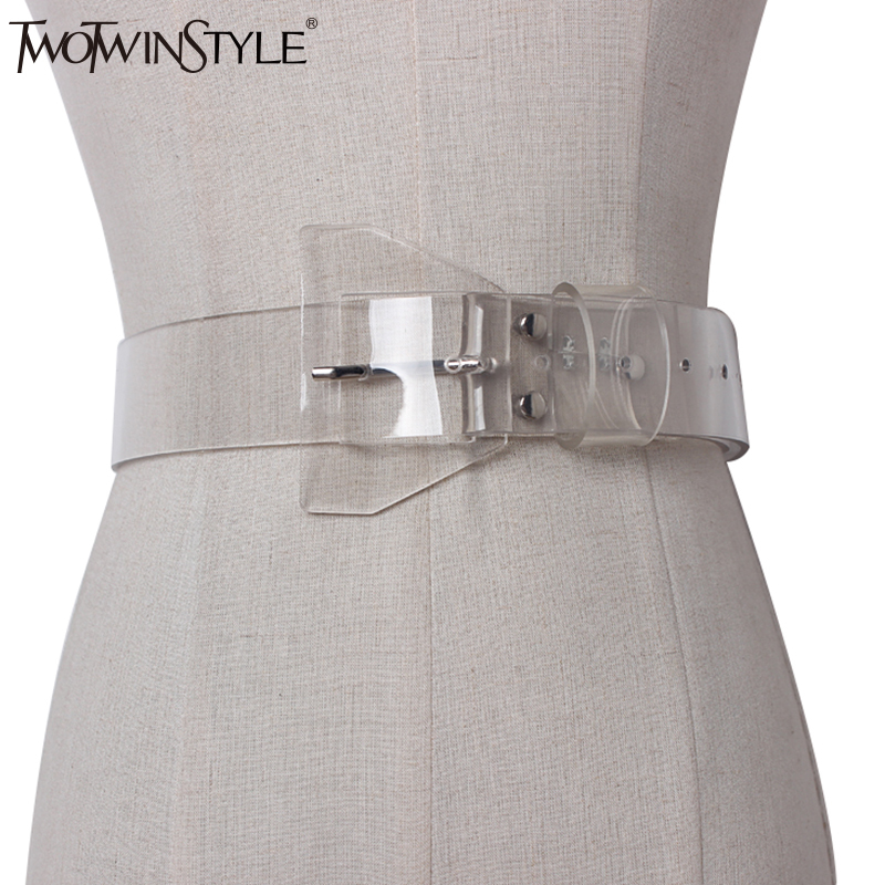 TWOTWINSTYLE 2020 Decorative Woman  Belt Casual Female Belts Made Of Genuine Plastic Wild PVC Transparent Clothing Accessories
