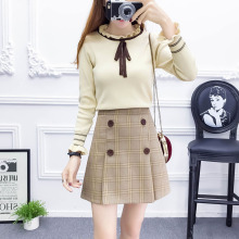 2019 spring women fashion suit sweet new design college knitted sweater plaid skirts knit top outfit lady vestido S M L