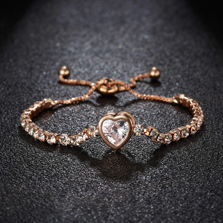RINHOO New Round Tennis Bracelet For Women Rose Gold Silver Color Cubic Zirconia Charm Bracelets & Bangles Femme Wedding Jewelry