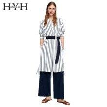 HYH Haoyihui 2019 Simple Stripes POLO Collar Side Slit Asymmetrical Hem Belt Dress New Arrival цена 2017