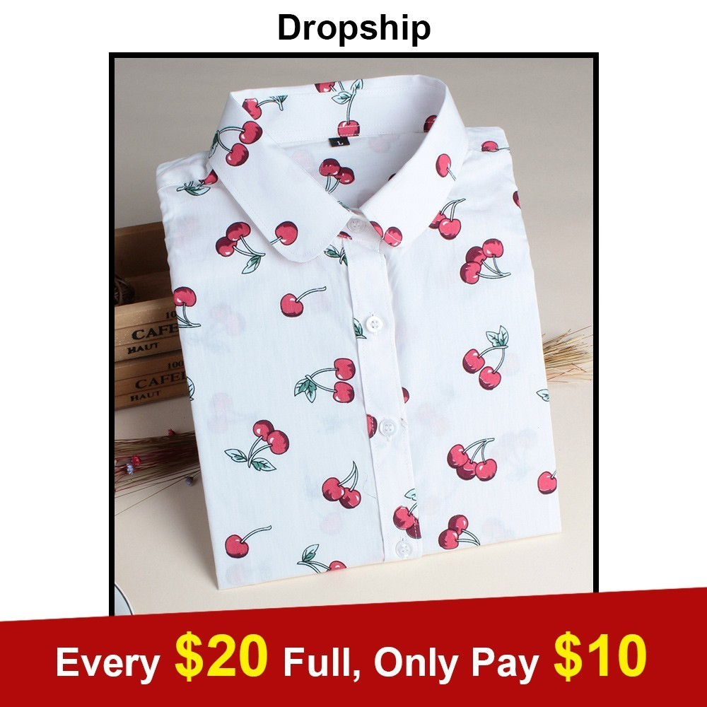 Dropship Womens Tops And   Blouses   Plus Size   Shirt     Blouse     Shirts   Tops Mujer De Moda 2019 White Cherry Printing Cotton Streetwear