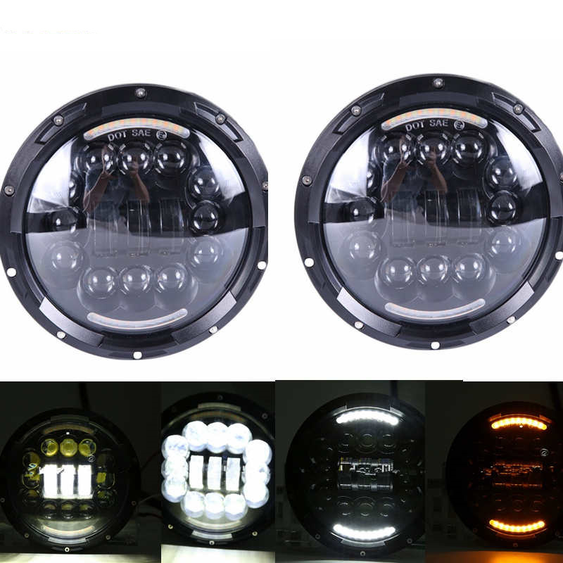 2Psc 7 Inch LED Headlight H4 Hi Lo With Halo Angel Eyes For Lada 4x4 urban