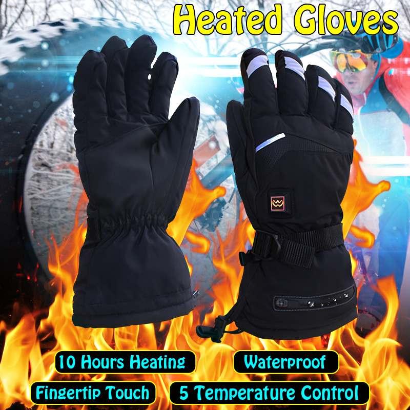 1 paire de gants chauffants électriques à 5 niveaux gants chauffants thermiques à piles pour femmes hommes gants de Ski chauffés à la main d'hiver M/L
