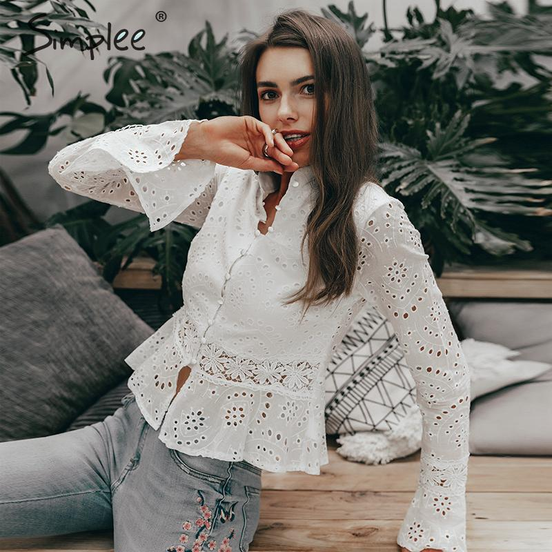 Simplee Elegant hollow out embroidery women blouse shirt Vintage turtle neck white blouse Summer casual female top shirt 2019