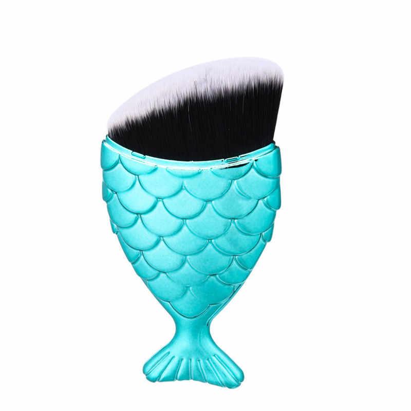 حورية البحر شكل فرشاة للمكياج مسحوق استحى الأساس التجميل الأسماك فرشاة ماكياج أدوات حورية البحر فرشاة فرشاة للمكياج أدوات التجميل