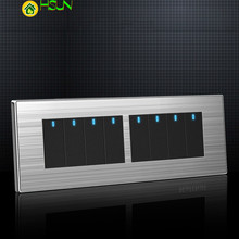 118 type LED random point switch Household stainless steel brushed panel 1/2/3/4/5/6/7/8 Gang 2 Way switch chint lighting switches 118 type switch panel new5d steel frame four position six gang two way switch panel