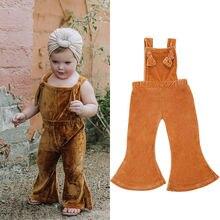 Cute Toddler Kids Girl Velvet Overalls