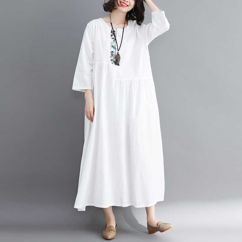 #3970 Spring White/Yellow Vintage Cotton Linen Dress Women Three Quarter Sleeve Split Joint O-Neck Loose Pleated Dress For Women