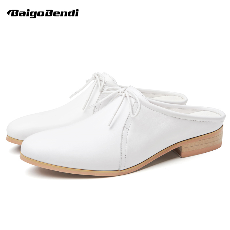 Trendy Mens Real leather Close Toe Slippers Slip On Open Back Summer Shoes Business Man White Oxfords Office ShoesTrendy Mens Real leather Close Toe Slippers Slip On Open Back Summer Shoes Business Man White Oxfords Office Shoes