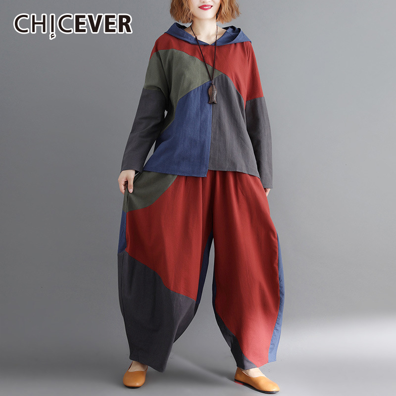 CHICEVER Autumn Hit Color Women s Suit Two Piece Set Hooded Long Sleeve Pullover Top Female