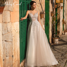 Ashley Carol A-Line Wedding Dress V-neck Sweep Train