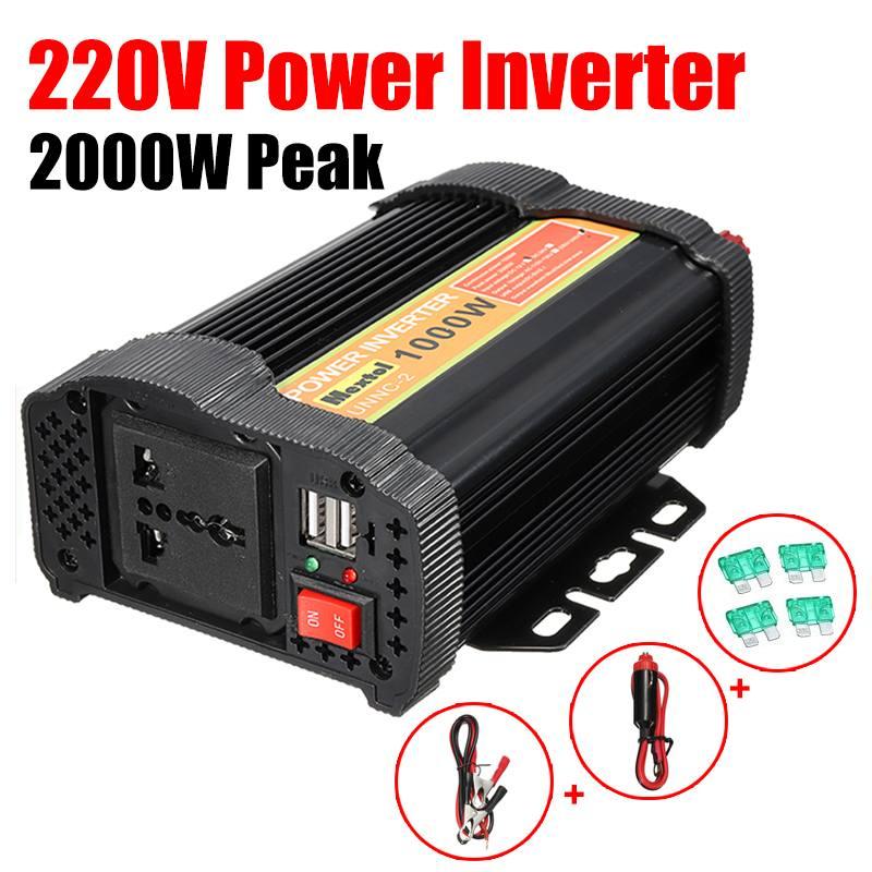 Max 2000 watts onduleur 1000 W 12 V à AC 220 volts Auto modifié convertisseur à onde sinusoïdale voiture convertisseur de Charge transformateur 2 USB