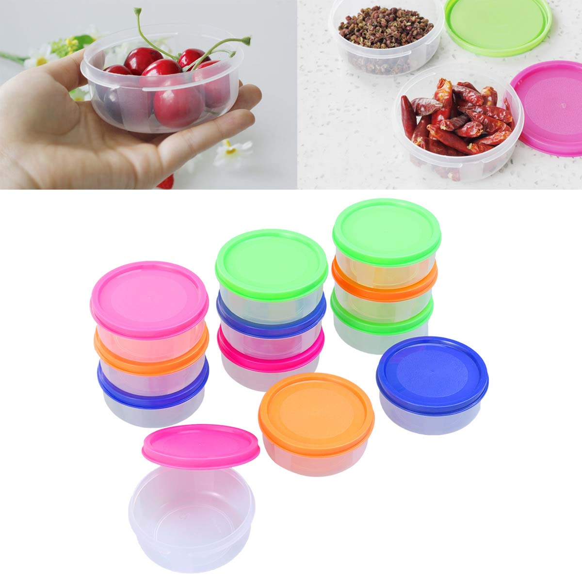 12pcs Kitchen Food Container Portable Bowl Crisper Food Preservation Mini Microwave Oven Food Storage Box For Infant Baby Kids(China)
