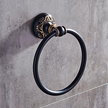 Styl europejski antyczny okrągły wieszak na ręcznik Retro okrągły kształt uchwyt na ręcznik łazienkowy do montażu ściennego ręcznik łazienkowy akcesoria łazienkowe tanie i dobre opinie CN (pochodzenie) Miedzi Towel Ring Polerowane European Style Antique Towel Ring Retro Round Shape Bathroom Towel Holder