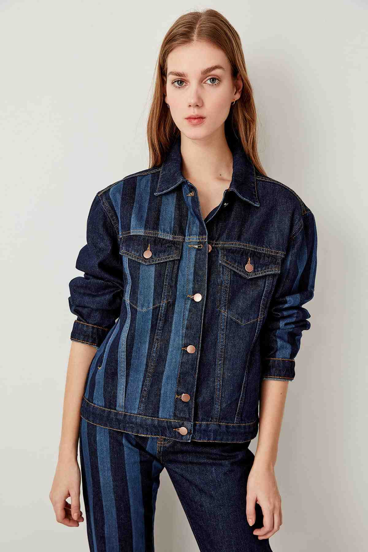 fc29c55825a38 Detail Feedback Questions about Trendyol Black striped denim jacket ...