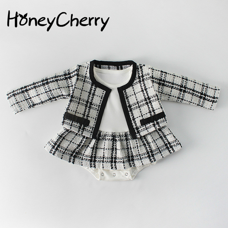 2019 Spring Suit Girl Little Fragrant Princess Long Sleeved Dress Skirt Two Kazakhstan Clothes Newborn Baby Girl Clothes