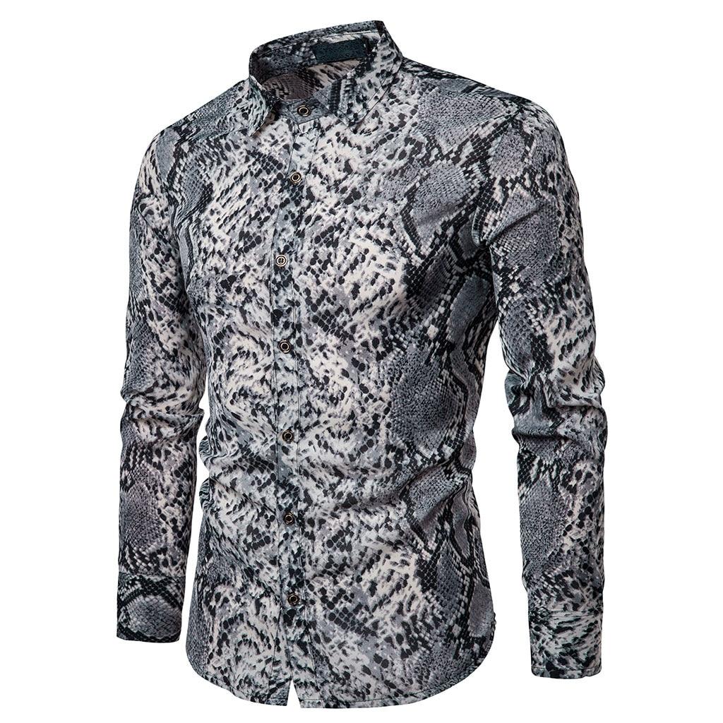 2019 moda wąż skóry druku męskie koszule z długim rękawem  eoXaP