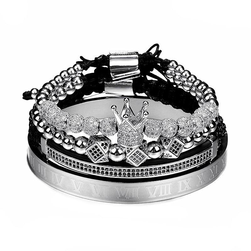 Hot Sale Classical Handmade Braiding Bracelet Gold Hip Hop Men Pave CZ Zircon Crown Roman Numeral Bracelet  Luxury Jewelry 4
