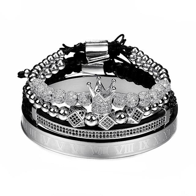 Classical Handmade Braiding Gold Hip Hop Men Pave CZ Zircon Crown Roman Numeral Bracelet 4