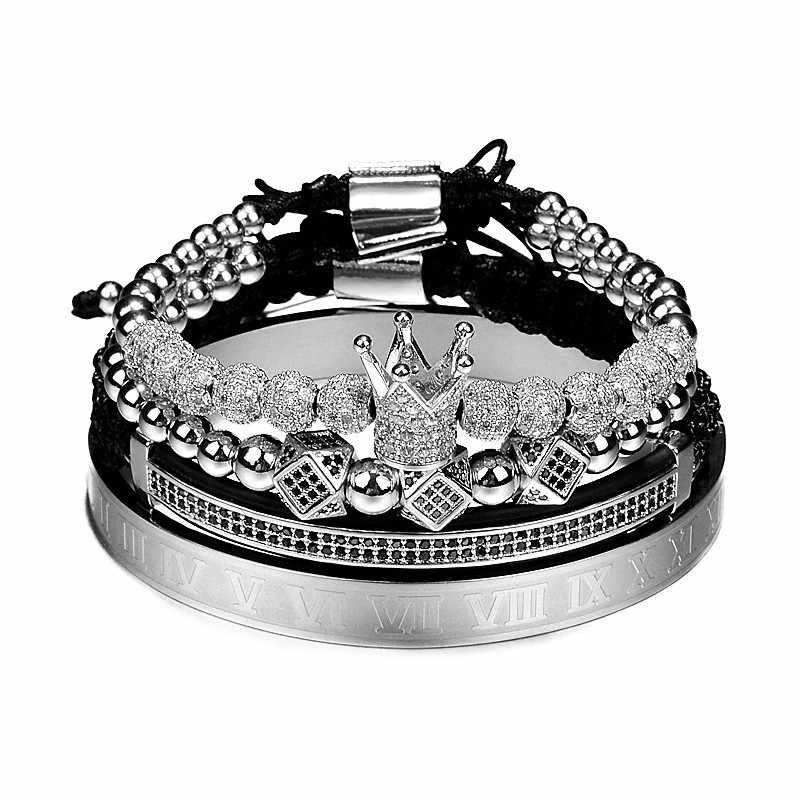 Venta caliente clásico hecho a mano trenzado pulsera oro Hip Hop hombres pavé CZ circón corona romano número pulsera joyería de lujo