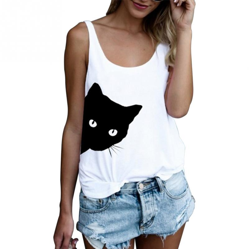 a526f249 Women Sleeveless White T-shirts Casual Loose Tank Tops Ladies Cute Cat  Print O-