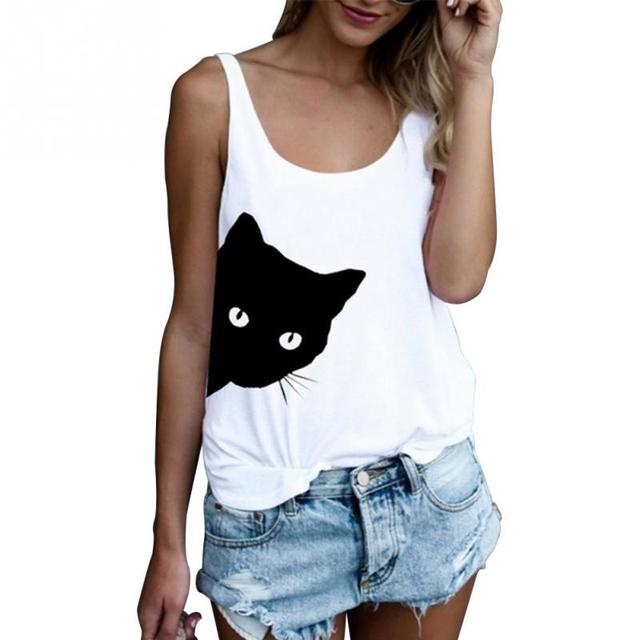 Women Sleeveless White T-shirts Casual Loose Tank Tops Ladies Cute Cat  Print O- d36bbf63eb96