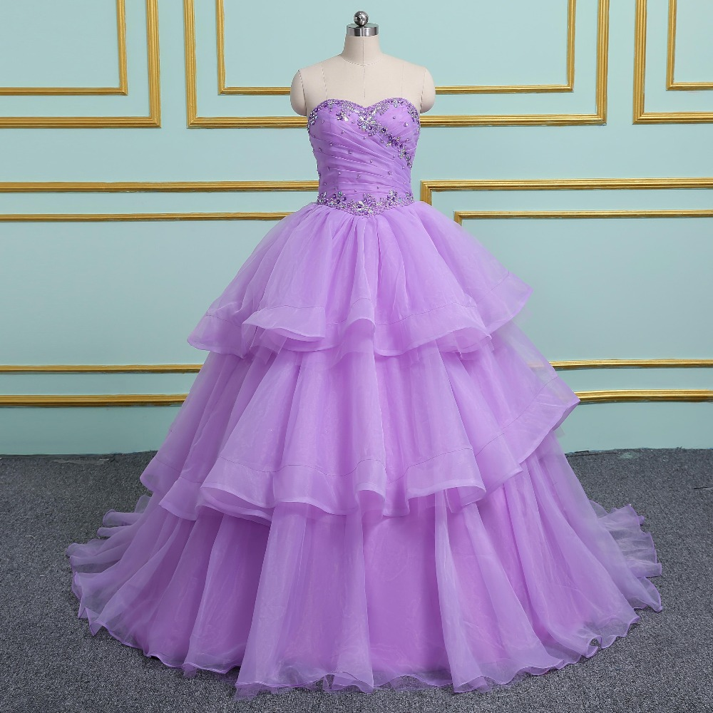 2019 Ball Gown Cheap Quinceanera Dresses Tulle With Beads Sequined Sweet 16 Dress For 15 Years Debutante Gown