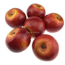 Gresorth 6pcs Lifelike Artificial Red Apple Faux Fake Apples Fruit Home House Kitchen Cabinet Decoration
