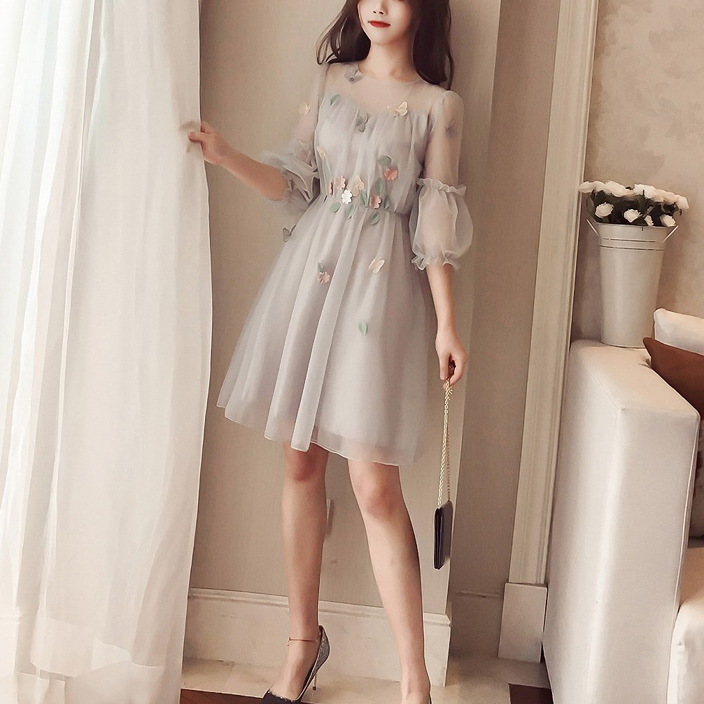 Korean Spring Summer Dress Midi Long Sleeve Dress Wholesale Elegant Plus Size Dresses 1