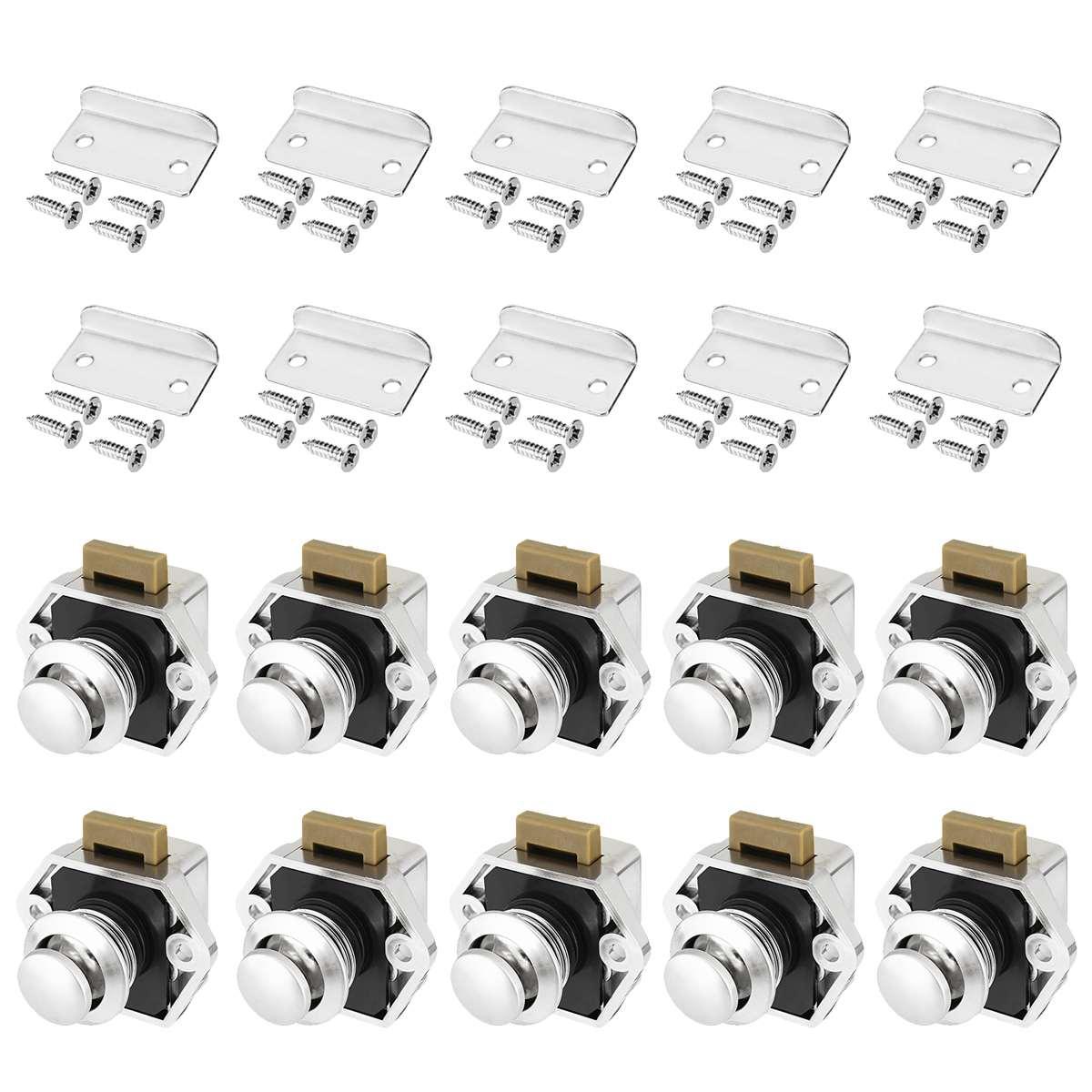 10 pces carro push lock diâmetro 20mm rv caravana barco a motor armário de casa gaveta trava botão fechaduras para móveis ferragem
