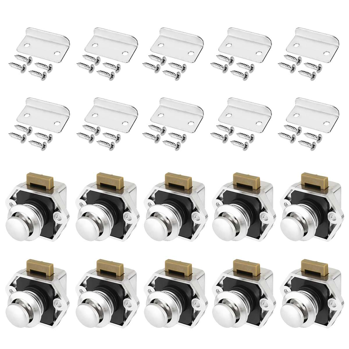 10pcs  Car Push Lock Diameter 20mm RV Caravan Boat Motor Home Cabinet Drawer Latch Button Locks For Furniture Hardware