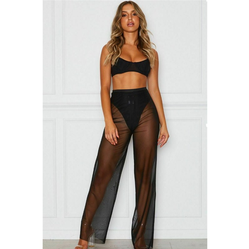 Women's Summer Beach Perspective Mesh High Waist Pants (Without Underwear) Solid Color Translucent Bikini Covered Straight Pants