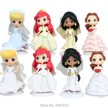 Princess Mermaid Wedding Dress Q Posket PVC Action Figures Belle Dreamy Style Model Dolls Figurines Kids Toys Cake Toppers