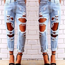 Womens fashion casual trousers holed tight blue non-mainstream personality pants
