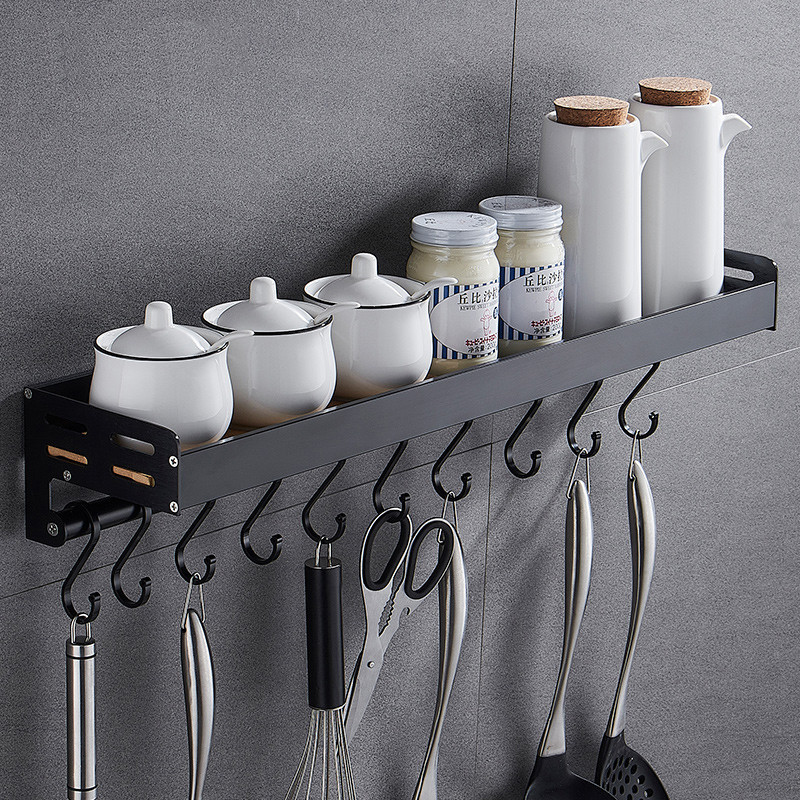 Wall Mounted Kitchen Rack, Kitchen Shelf, Space Aluminum Spice Racks  Free Nail Multifunctional Storage Bathroom Shelves