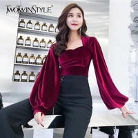 TWOTWINSTYLE Velour Crop Tops Female Slim Puff Long Sleeve Irregular Collar Women's T shirts Sexy Fashion Clothes 2018 Autumn