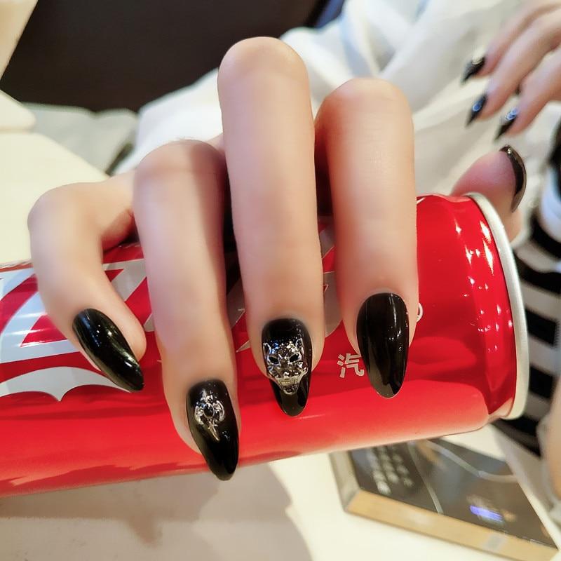 Methodical 24pcs/set Black 3d Leopard Head Print Fake Nails Summer Waterproof Pointed False Nails Women Fashion Nails Art Tips# Good For Antipyretic And Throat Soother False Nails Nails Art & Tools
