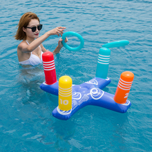 80*40 PVC Inflatable Cross Ring Toss Game With 4 Circles Water Floating Throwing Play Swimming Pool Fun Outdoor Sport Toys