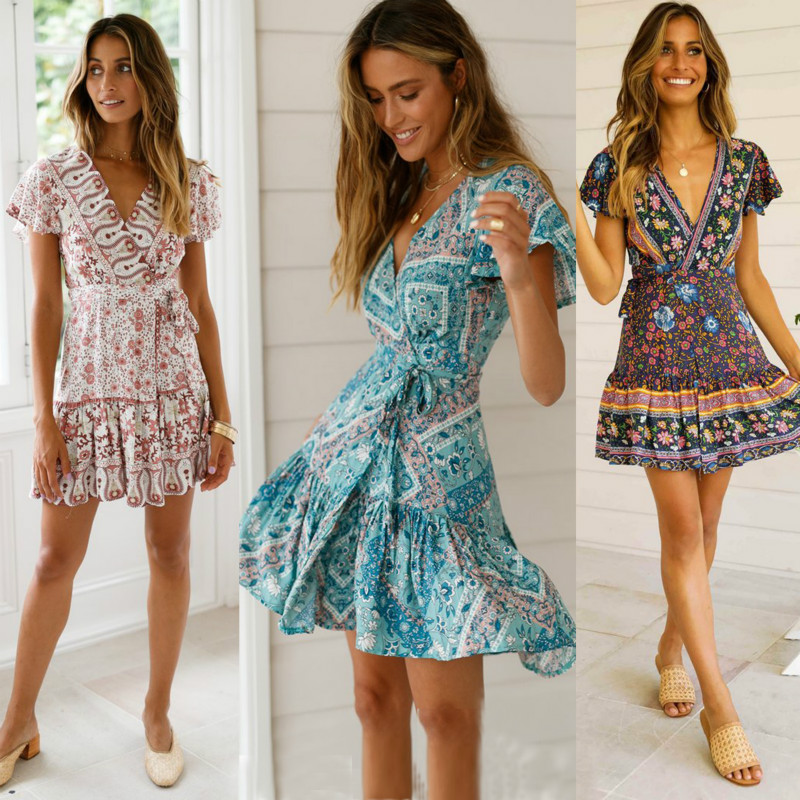 Women Short Sleeve Butterfly Sleeve V-Neck Draped Wrap Boho Floral Mini Dress Ladies Summer Sundress Holiday