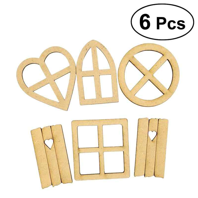 6 Pcs Fairy Window Craft Kit Wooden Self-Assembly Country Cottage Micro Landscape Decoration for Garden Craft