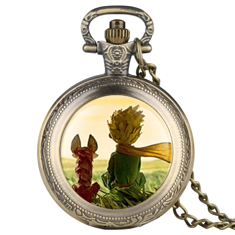 Mens Cartoon Animation Prince And Fox Pocket Watch Quartz Necklace Watch For Boy Arabic Digital Pocket Watches For Teenager