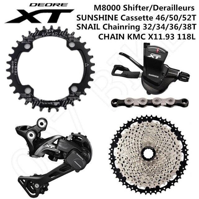 SHIMANO DEORE XT M8000 Groupset MTB אופני 1x11 Speed 46T 50T SL + RD + שמש + CHAINRING + x11.93 M8000 שיפטר אחורי הילוכים