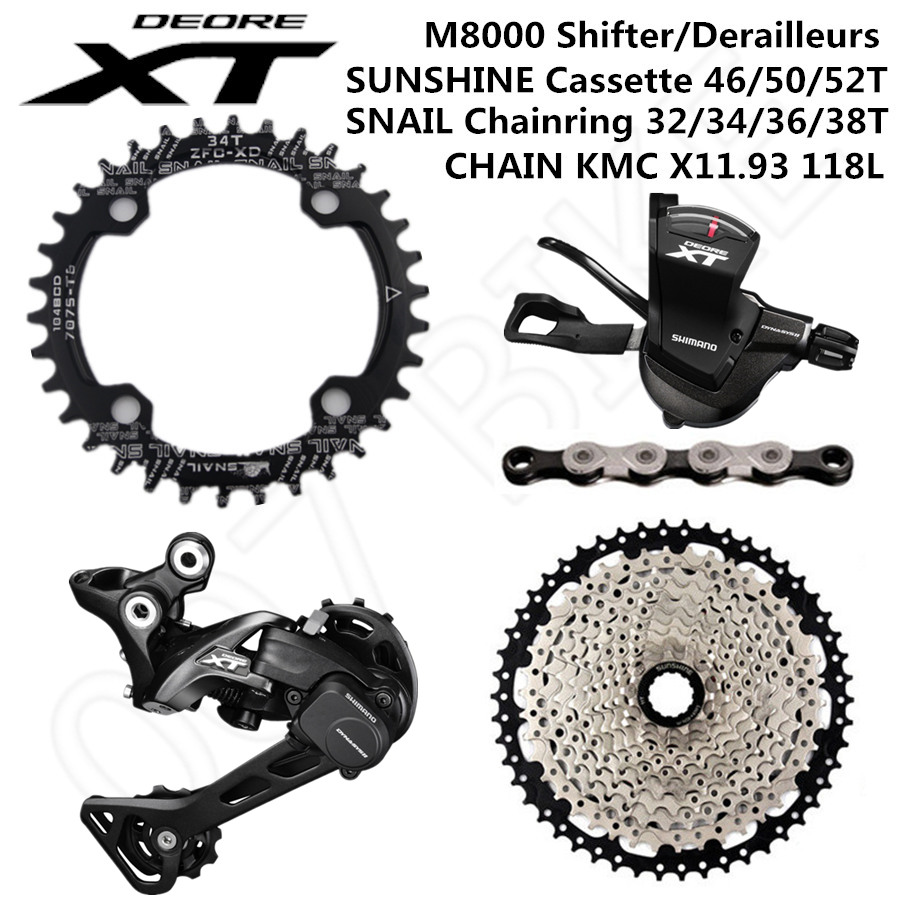 SHIMANO DEORE XT M8000 Groupset MTB Bike 1x11 Speed 46T 50T SL+RD+SUNSHINE+CHAINRING+X11.93 M8000 shifter Rear Derailleur-in Bicycle Derailleur from Sports & Entertainment
