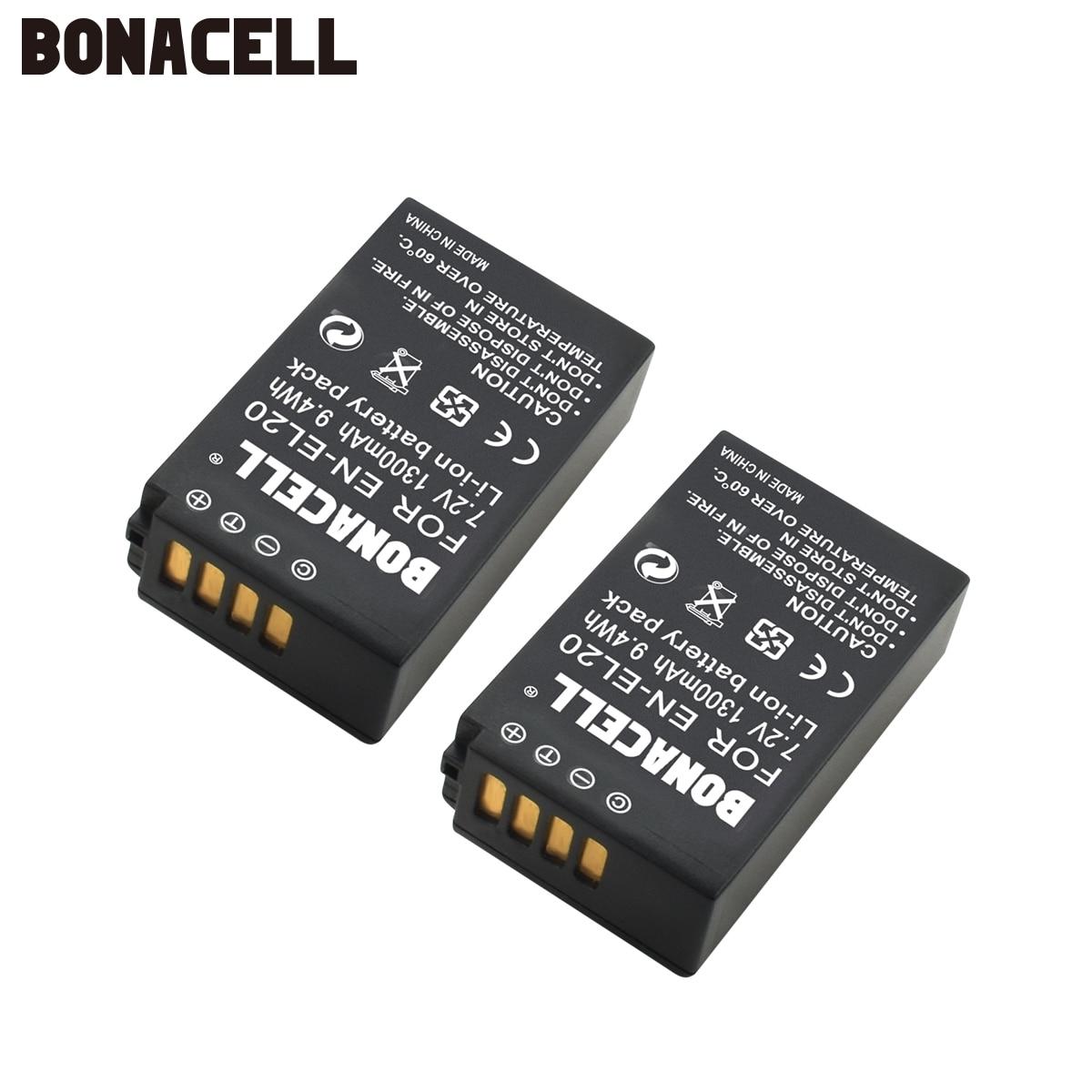 Bonacell – batterie pour appareil photo numérique, Rechargeable, 7.2V, 1300mAh, EN-EL20 EN EL20 ENEL20, pour Nikon EN-EL20a 1 J1 J2 J3 S1 L50