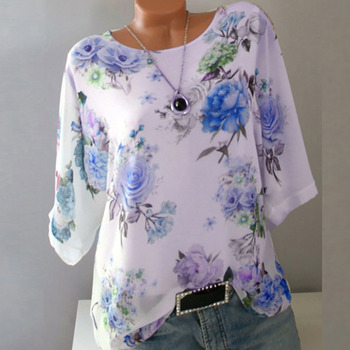 2019 Summer Autumn Floral Print Casual T Shirt Femme T Shirt Women O-neck Top Female White Half Sleeve T-shirt Woman Tshirt Top