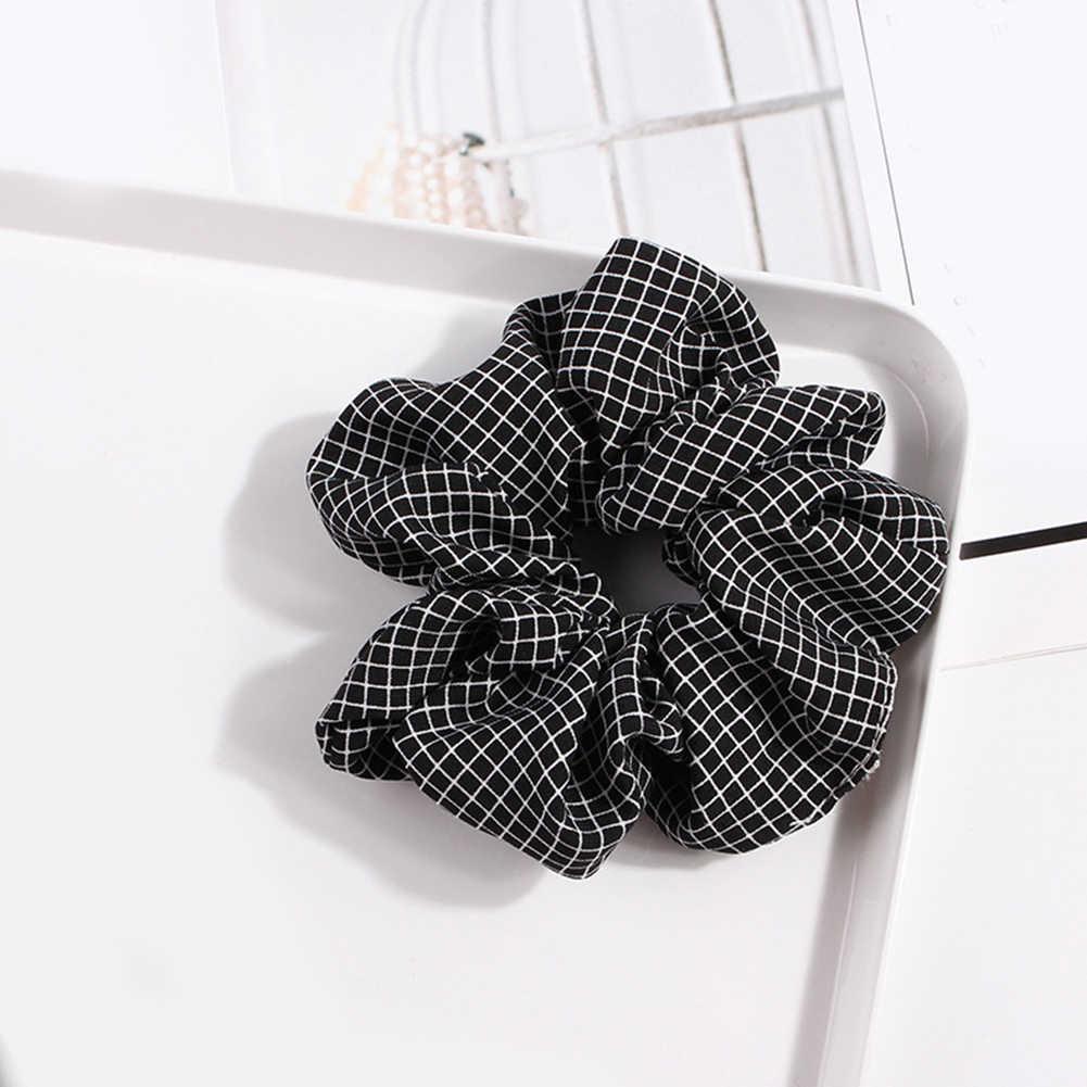 1Pc Elastic Scrunchie Plaid 2019 New Pink Sweet Ponytail Holder Hair Rope Ties Dark Blue Hot Sale Fashion Net Plaid Hair Ring
