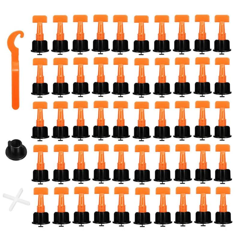 50pcs/set   Reusable Wall Tile Leveling System Wall Tile Leveling System Leveler Locator Spacers Plier Balance Tiles Alignment