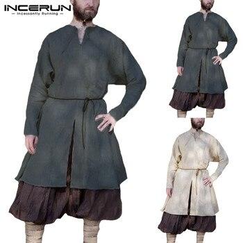 Moda tunika mężczyzna koszula sukienka Medieval Viking długi rękaw bawełna szata Undertunic kostiumy sceniczne renesansowy strój średniowieczny mężczyzna topy