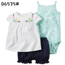 3Pcs Baby Rompers +Shorts +Print Shirt Summer Sleeveless Newborn Clothing Set Boys Girls Clothes